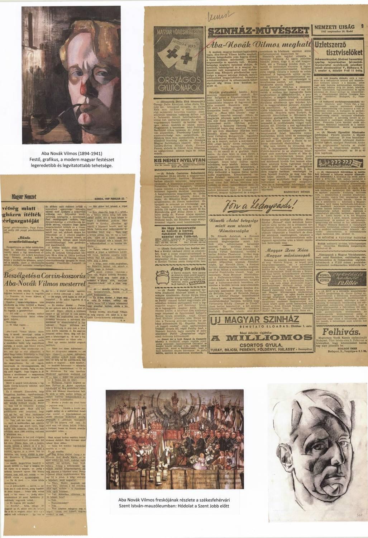 A cikk-kivágatok között több is foglalkozik Aba-Novák Vilmos festőművésszel. Az alkotó halála is vezető hír volt a lapokban